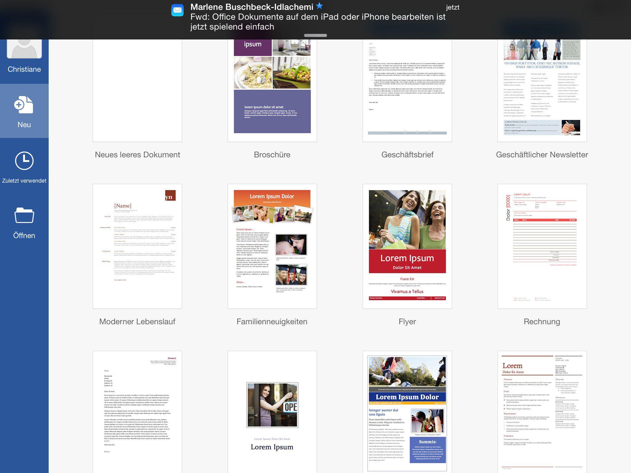 Vergrößern An Vorlagen hat Word for iPad nicht ganz so viel Auswahl zu  bieten wie Pages