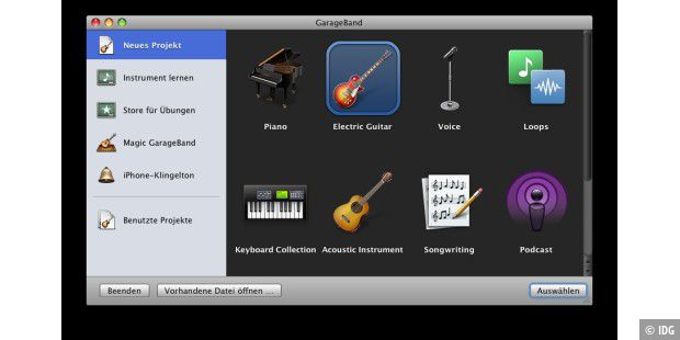 Garageband 5.0 in iLife 09: Los