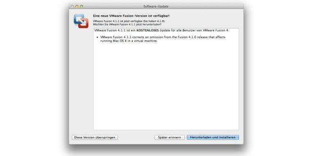 VMware Fusion 4.1.1 Update-Dialog
