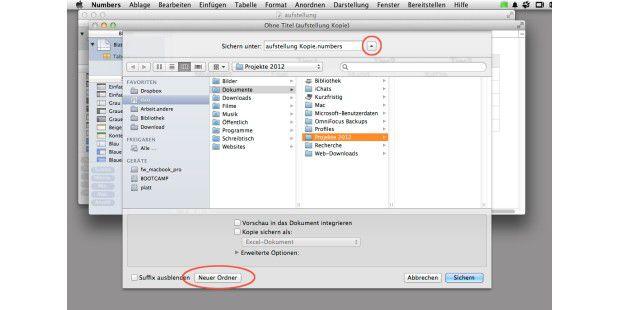 Im erweiterten Fenster zum Speichern von Dateien (zum Umschalten klickt man auf den Kreis neben dem Dateinamen) hat man ganz unten eine praktische Ordnungshilfe: Mit einem Klick erzeugt man einen neuen Unterordner