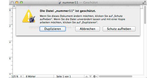 Dokumente lassen sich bei OS X Mountain Lion schützen - anders als beim Vorgänger-Betriebssystem geschieht dies nicht mehr automatisch nach einigen Tagen oder Wochen