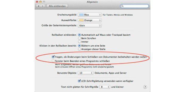 """Über die automatische Sicherung von Dokumenten (bei Vorschau und Textedit) entscheidet man in den Systemeinstellungen von OS X Mountain Lion unter """"Allgemein""""."""