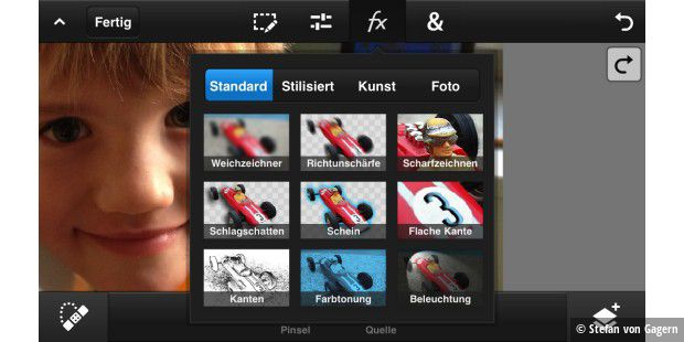 Filtergalerie bei Photoshop Touch for phone