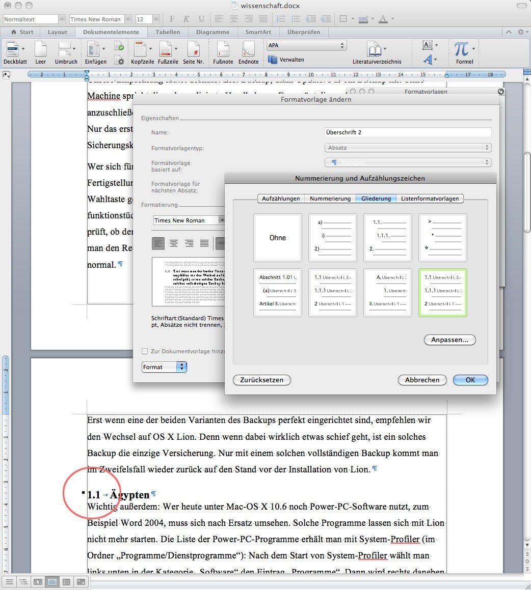 Nummerierung und Gliederung in Word verwenden - Macwelt