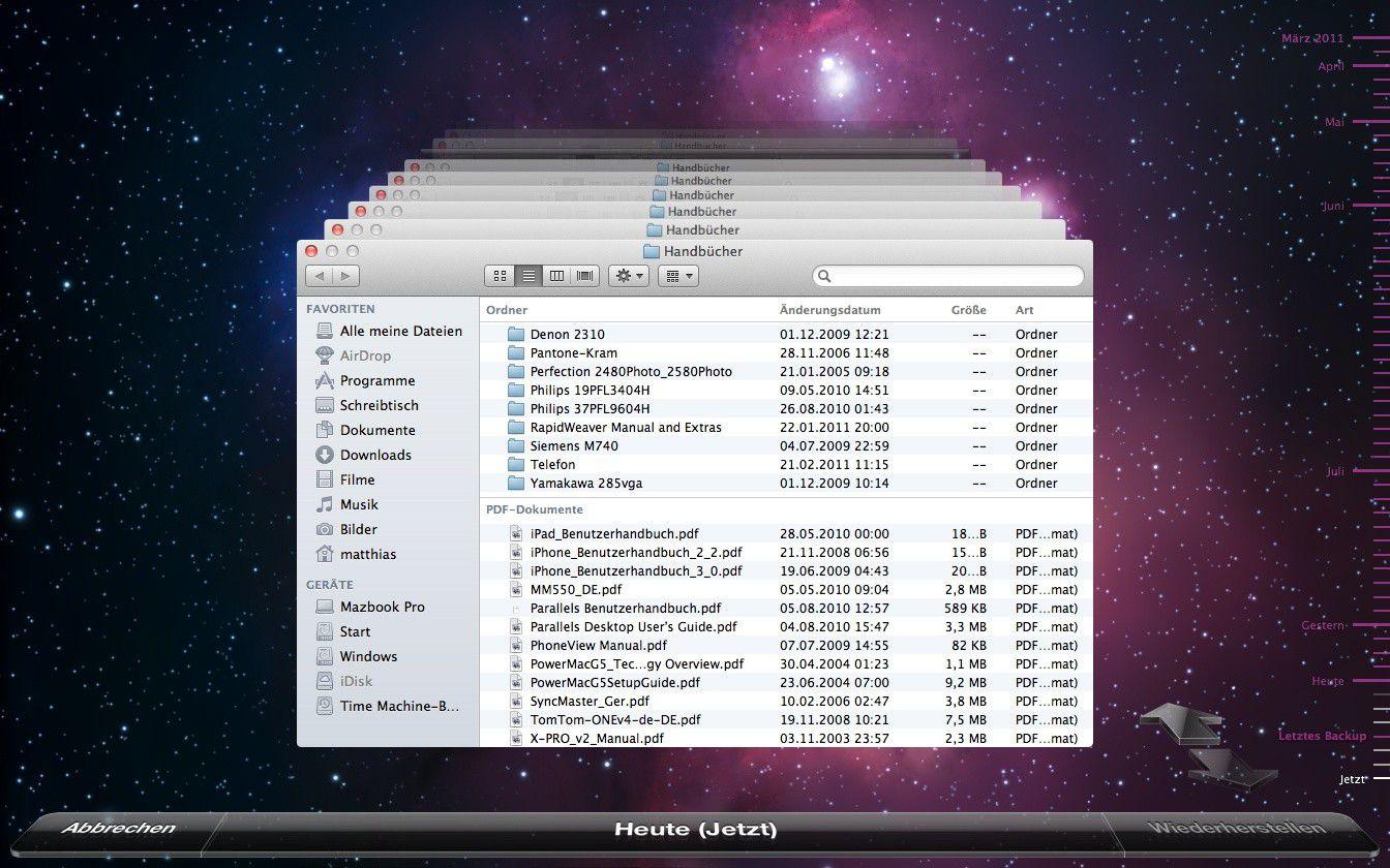 5 Favorieten 8 : Daten mit time machine in os x lion wiederherstellen macwelt