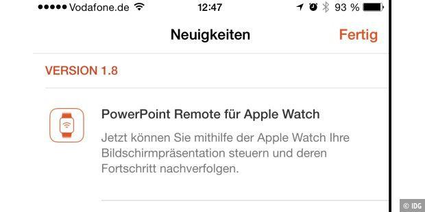 powerpoint app erlaubt jetzt fernsteuerung per apple watch macwelt. Black Bedroom Furniture Sets. Home Design Ideas