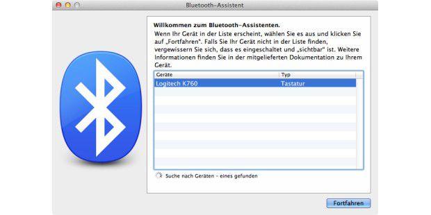 Mac sucht nach Bluetooth-Geräten im Umkreis.