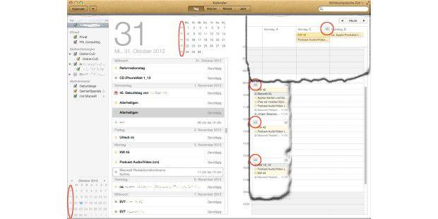Die Kalenderwoche zeigt sich im Kalender von OS X Mountain Lion an verschiedenen Stellen: Links (oben und unten) in der Tagesansicht, (rechts oben) in der Wochen- und (rechts unten) in der Monatsansicht.