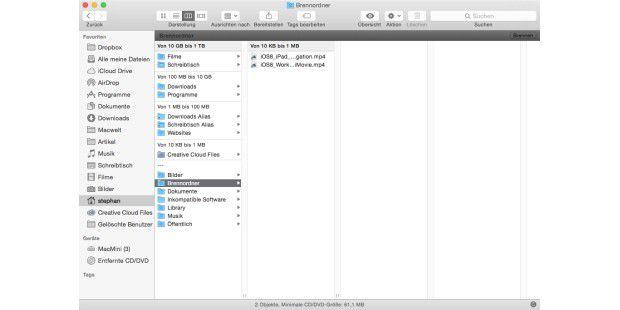 Unauffällig: Mac-OS X kann sogar Bluray-Medien beschreiben, kann allerdings nur Datenmedien erstellen.