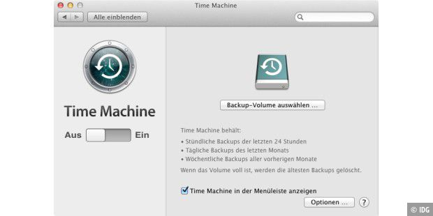 Time Machine starten