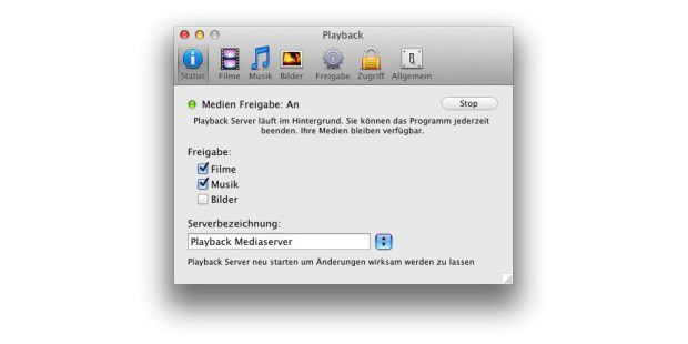 Yazsoft Playback: Der MAc als DLNA-Server