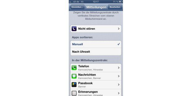 Mitteilungszentrale auf dem iPhone konfigurieren