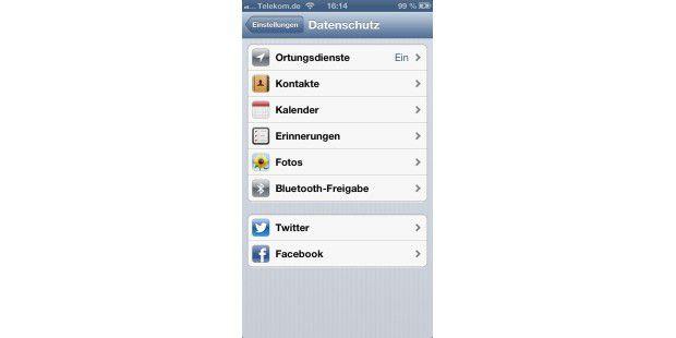 Datenschutz unter iOS 6