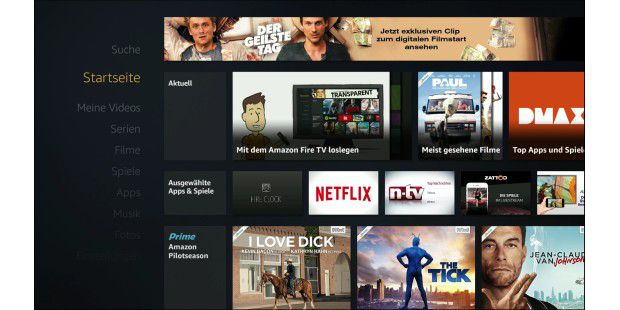 Amazon Fire TV Homescreen
