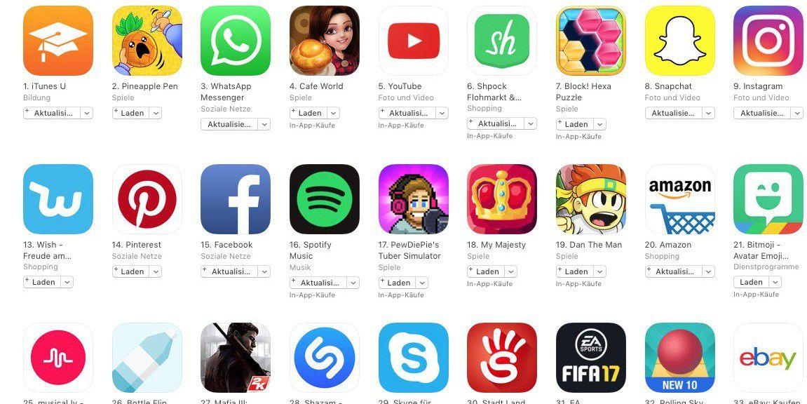beliebteste iphone apps