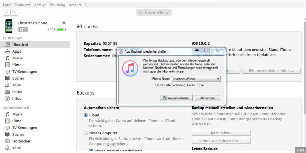 nachrichten iphone wiederherstellen