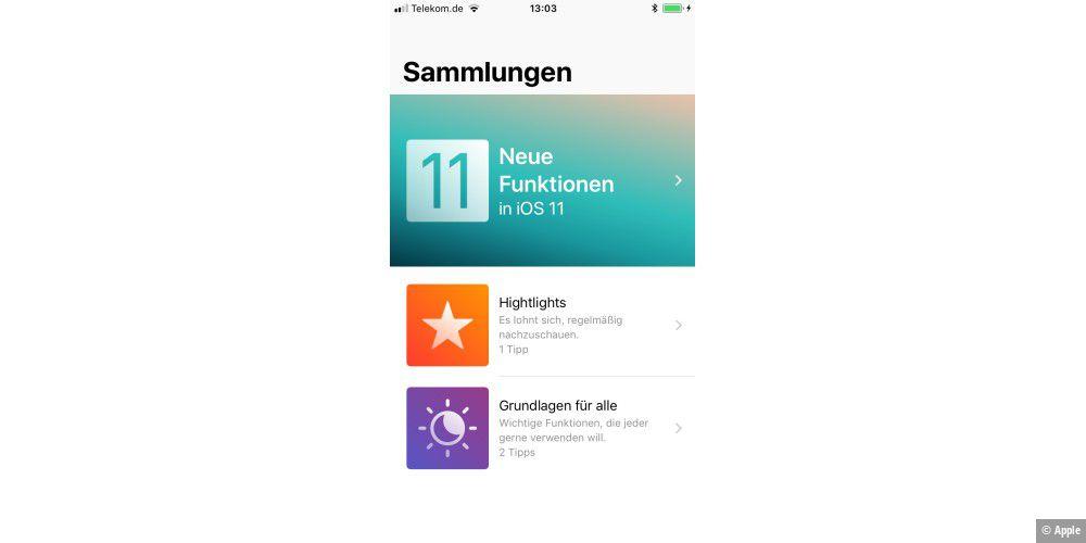 apple aktualisiert tipps app mit infos zu ios 11 macwelt. Black Bedroom Furniture Sets. Home Design Ideas