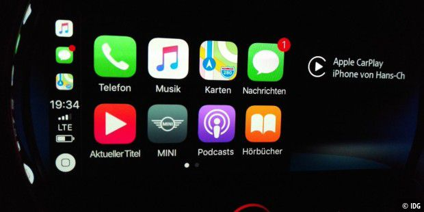 Wireless Carplay im Mini auf dem 8,8-Zoll-Touchscreen.
