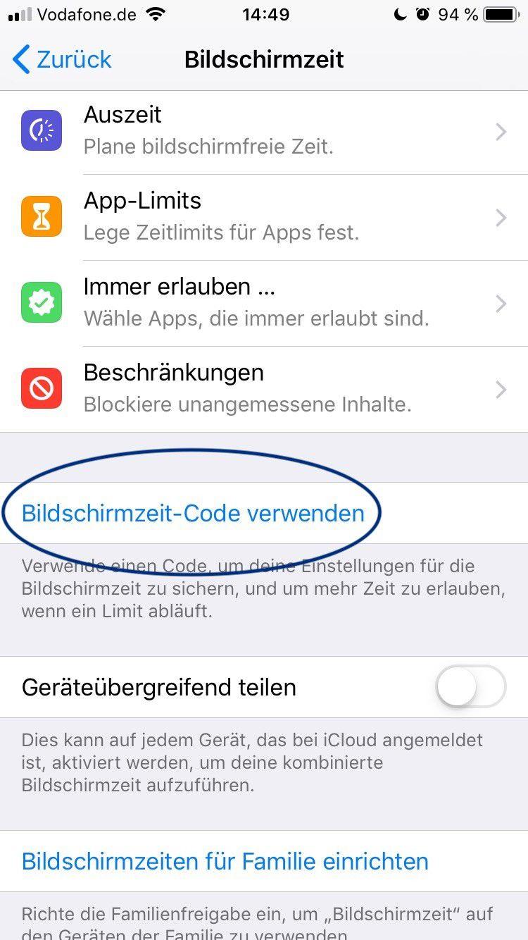 Bildschirmzeit Code