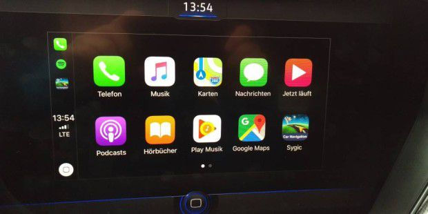 Carplay mit den Icons für Google Maps und Sygic Car Navigation