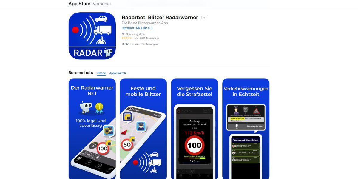 Radarwarn-Apps: 75 Euro Geldstrafe & ein Punkt